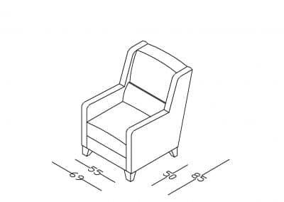 Fotelja berzera Darijana 3-Model.jpg izometrija, linija1mm