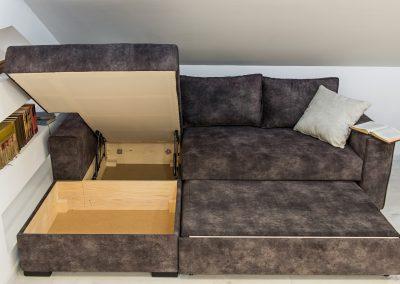 Ugaona garnitura Milica po meri i po želji na razvlačenje sa nemačkim mehanizmom i kutijim za posteljinu