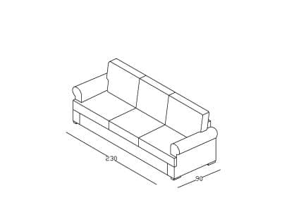 Sofa Mirela izometrija, linija 1mm-Model